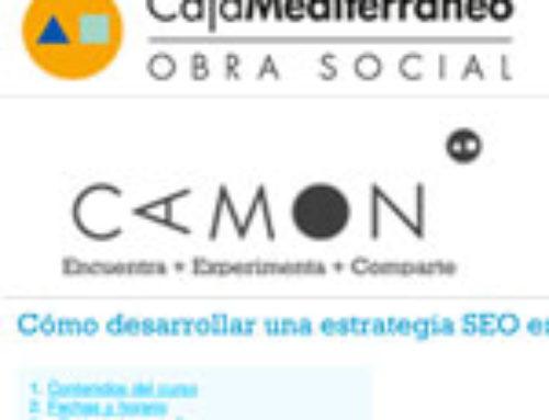 Formación SEO: «Cómo desarrollar una estrategia SEO en tu web» en Camon