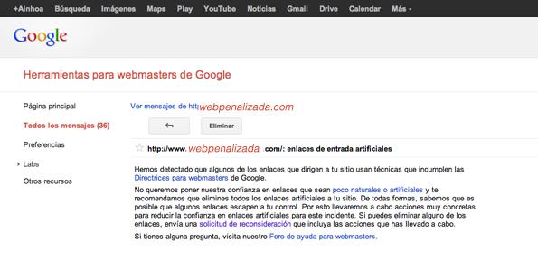 Penalización de google