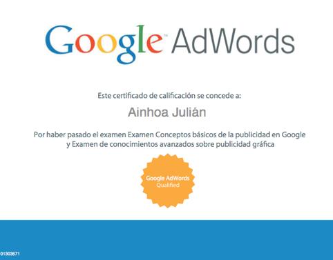 Certificación individual de google Adwords Ainhoa Julián