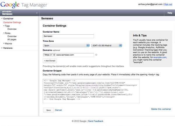 panel de la herramienta Google Tag manager