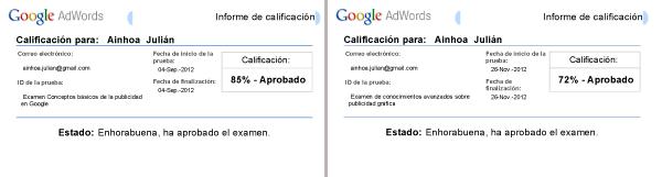 notas examen de google adwords ainhoa julián