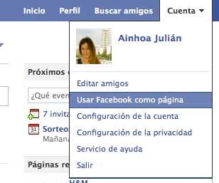 seleccionar pagina desde perfil personal