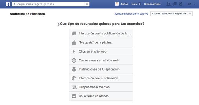 crear nueva campaña en facebook