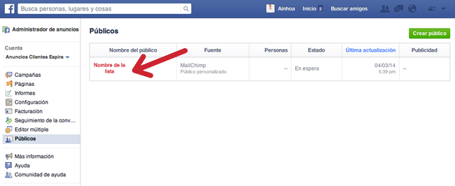 lista de remarketing en facebook creada