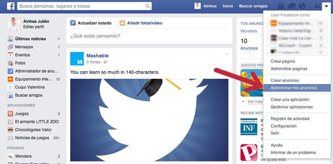acceso a la cuenta publicitaria de Facebook