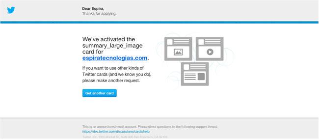 Email de validación Twitter Card
