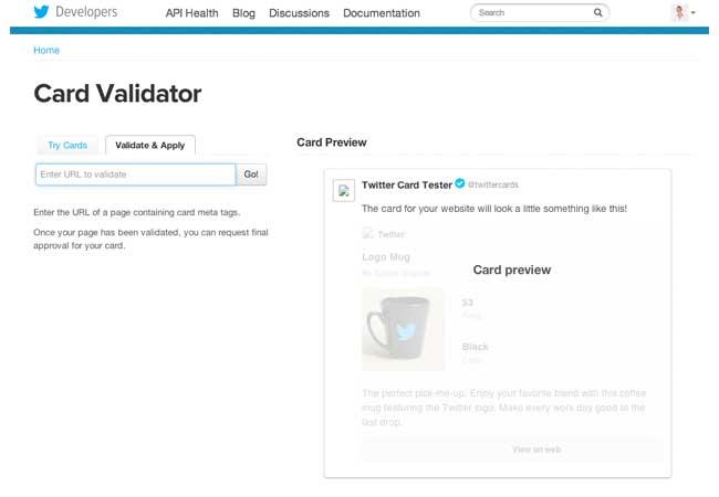 validador de Twitter Cards