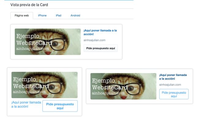 vista previa twitter Cards