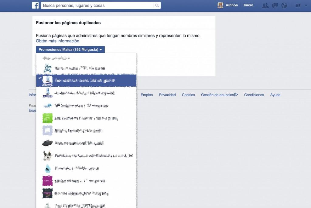 fisionar dos paginas en facebook