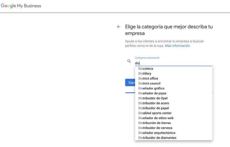 categoría de tu empresa en google