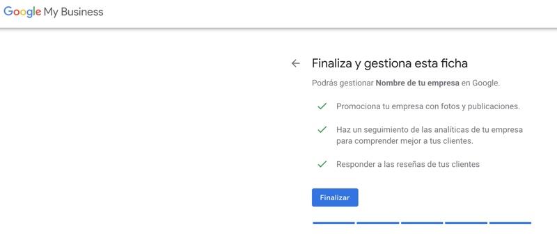 finalización de la creación de tu empresa en google