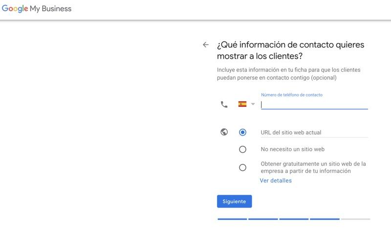 datos de contacto de tu empresa en google
