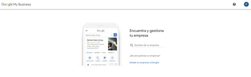 pantalla para crear o buscar tu empresa en google