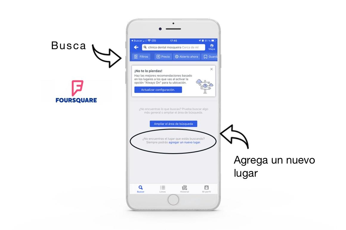 agregar un nuevo lugar en foursquare para aparecer en whatsap