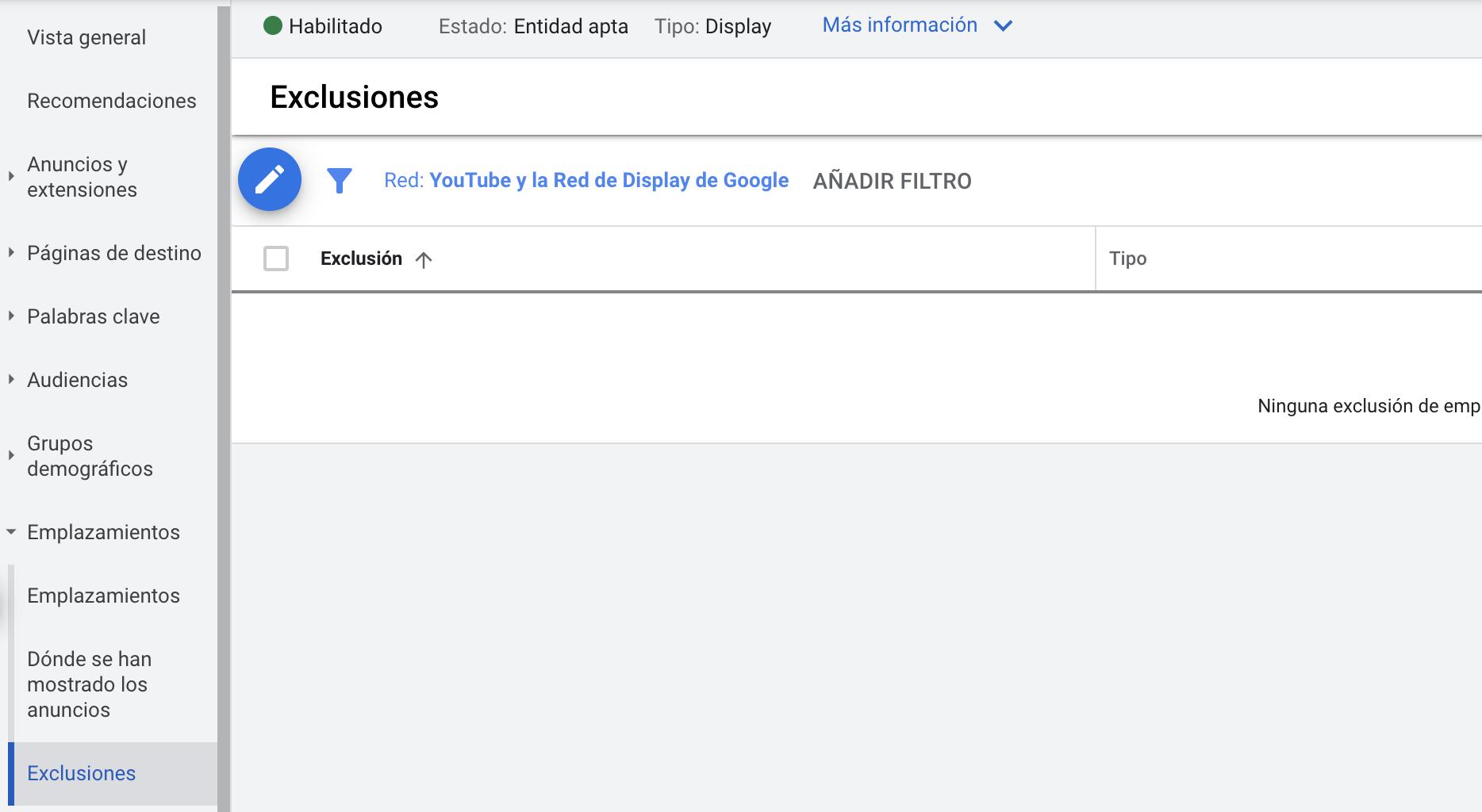 exclusiones de apps en google ads